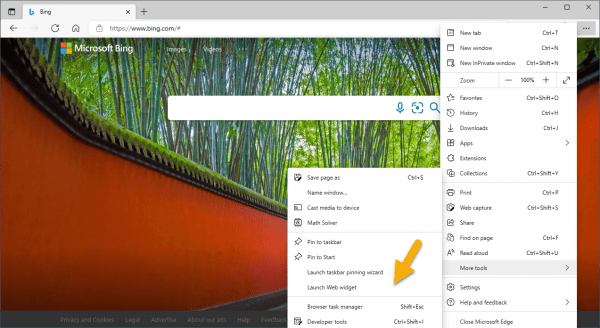 Cách sử dụng Web Widget trên Microsoft Edge