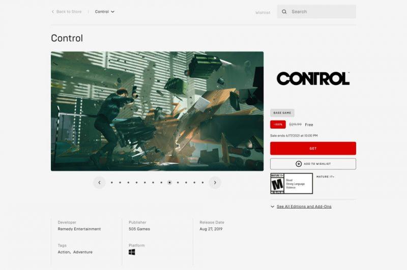 Đang miễn phí game Control