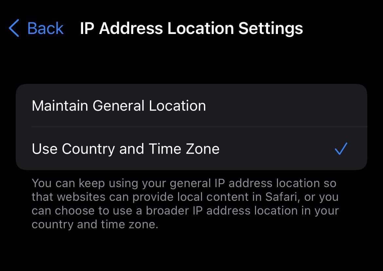 iOS 15 iCloud Relay Location