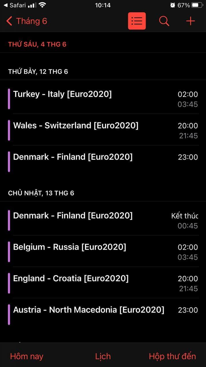 Cách thêm lịch đá banh Euro 2020 vào iPhone
