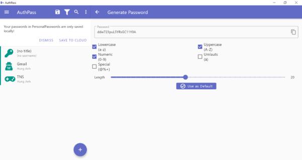 AuthPass: Ứng dụng tốt quản lý mật mã tài khoản web trên Windows 10