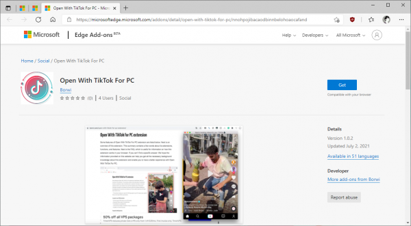 Xem, tải video TikTok từ Microsoft Edge không cần IDM