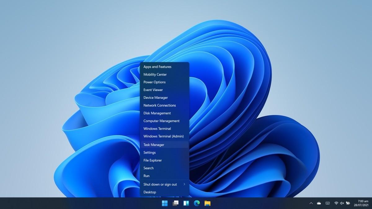 Mở Task Manager trên Windows 11 bằng WinX