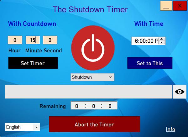 Cách tắt máy tính Windows 10 tự động bằng The Shutdown Timer