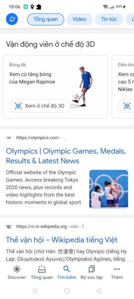 Cách xem vận động viên Olympic Tokyo 2020 ở chế độ 3D