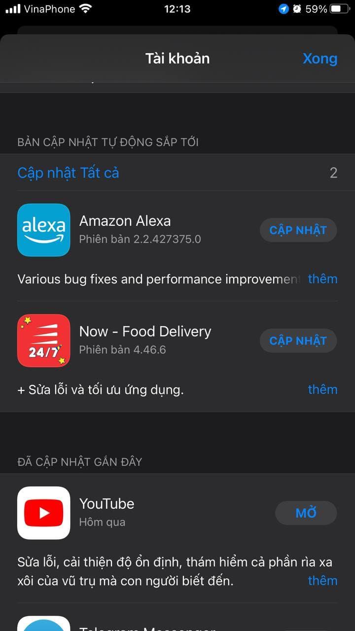Cập nhật ứng dụng trên iOS 15