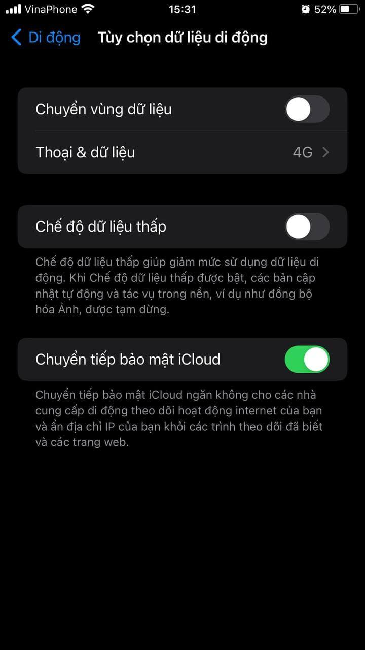 Chuyển vùng dữ liệu iPhone