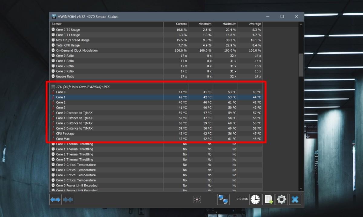 Kiểm tra CPU Throttling bằng HWiNFO
