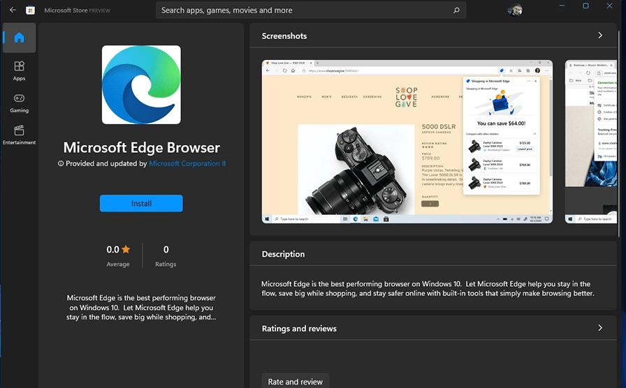 Microsoft Edge đã có trên cửa hàng Windows 11