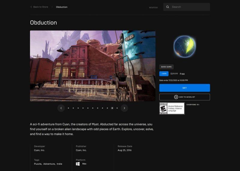 Đang miễn phí game Obduction
