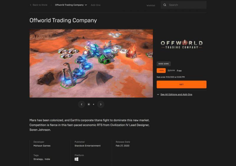 Đang miễn phí game Offworld Trading Company