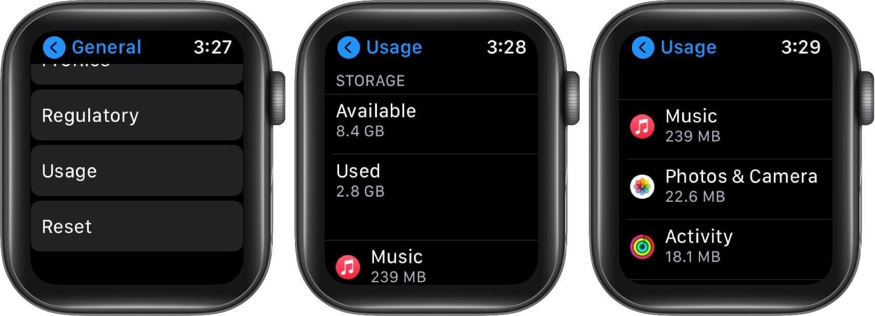 Kiểm tra bộ nhớ từ Apple Watch