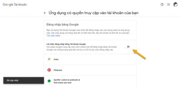 Cách tắt Sign in with Google Account trên trang web