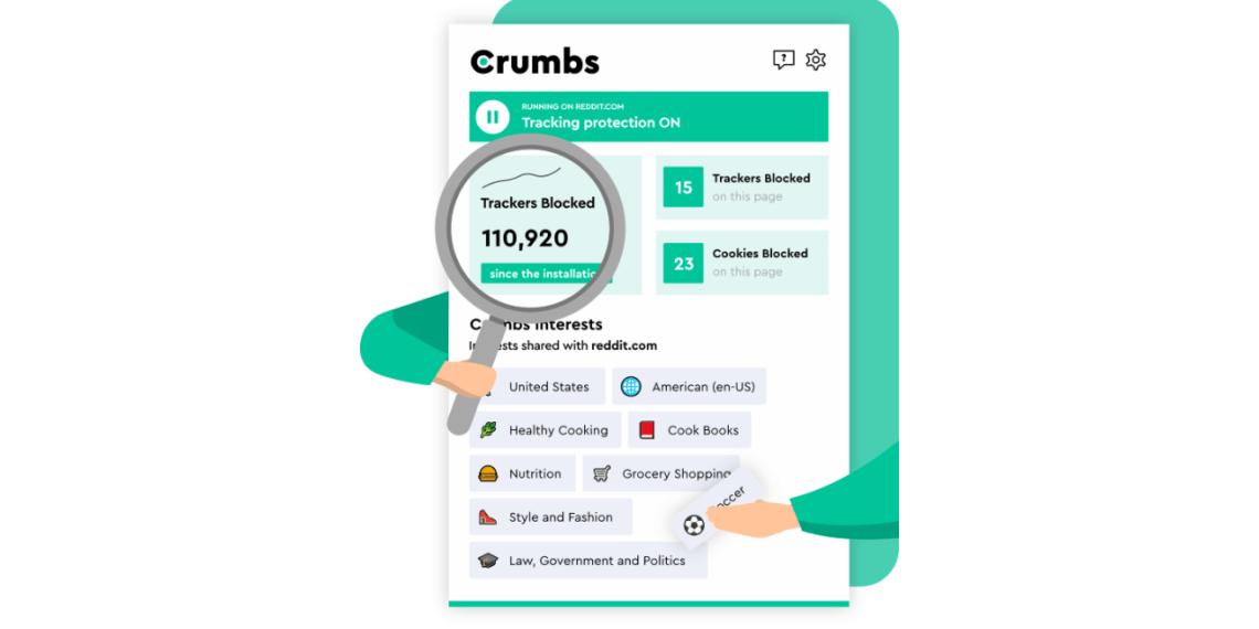 Crumbs: Tiện ích tuyệt vời chặn quảng cáo, theo dõi người dùng cho Chrome, Firefox