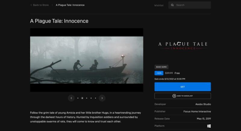 Đang miễn phí game A Plague Tale: Innocence