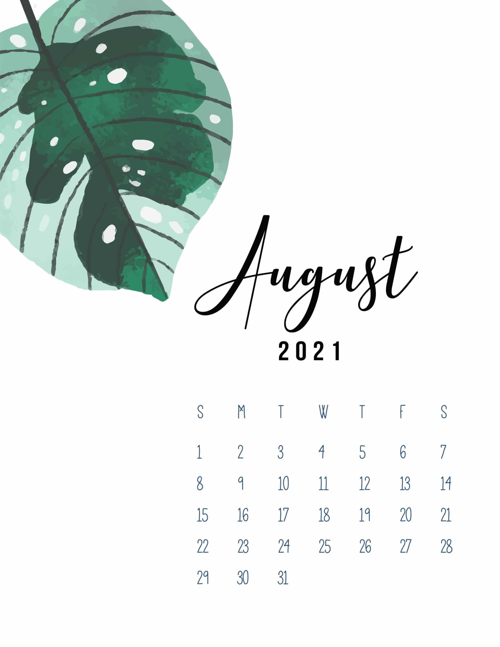 Ảnh nền lịch tháng 8/2021 dành cho iPhone