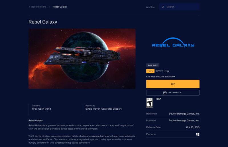 Đang miễn phí game Rebel Galaxy