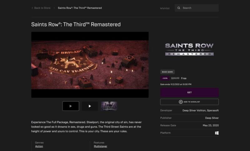 Đang miễn phí game Saints Row: The Third Remastered