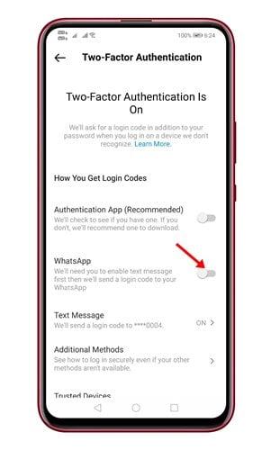 Các bước sử dụng WhatsApp để xác thực hai yếu tố trên Instagram