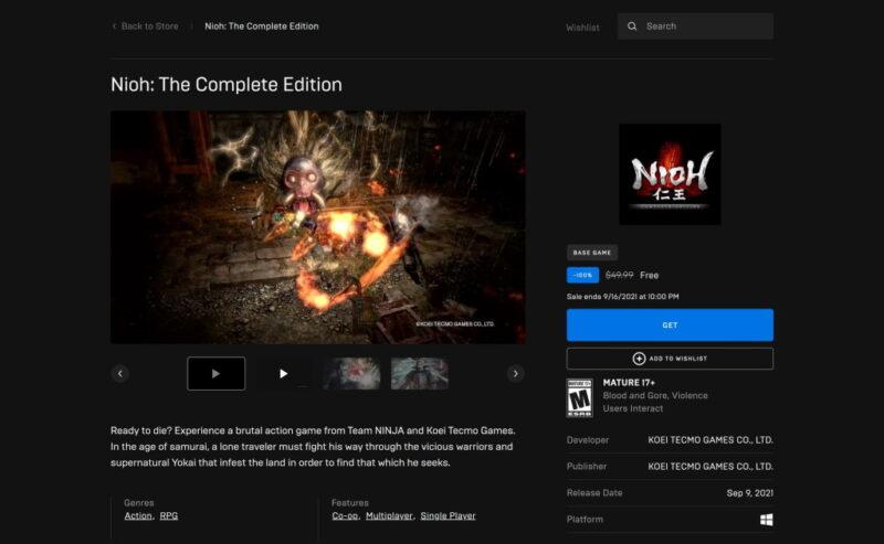 Đang miễn phí game Nioh: The Complete Edition