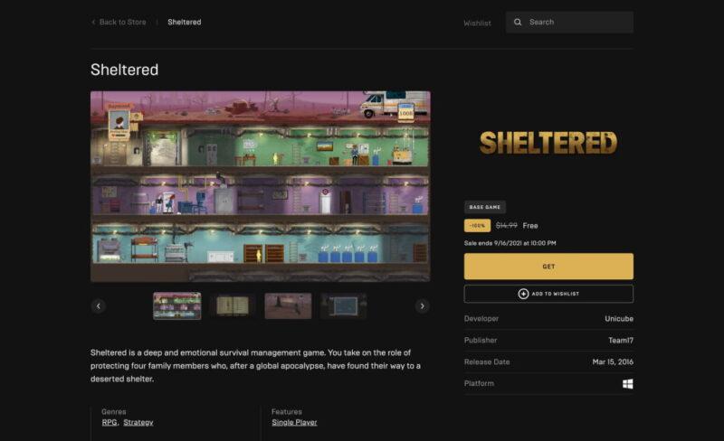 Đang miễn phí game Sheltered
