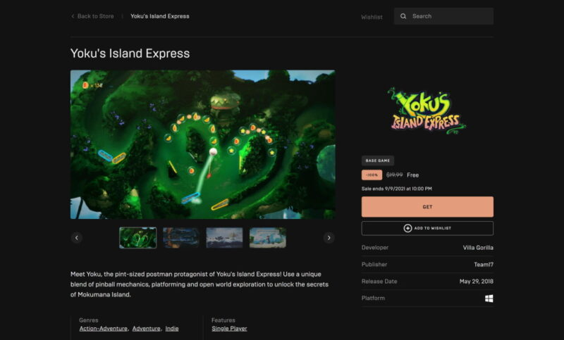 Đang miễn phí game Yoku's Island Express